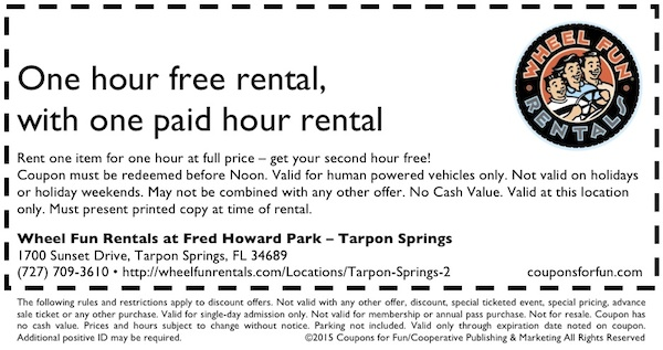 Tarpon Springs, Florida, bike ride, bike rentals, surrey ride, cycles, things to do, family, fun, kids, children, coupon, coupons, discount
