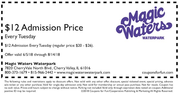 Savings coupon for Magic Waters Waterpark in Cherry Valley, Illinois