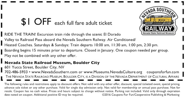 Boulder City, Nevada, train ride, Hoover Dam, historic railroad, train, family, fun, kids, children, coupon, coupons, discount