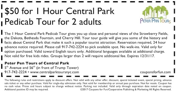 Savings coupon for Peter Pen Tours of Central Park in New York City