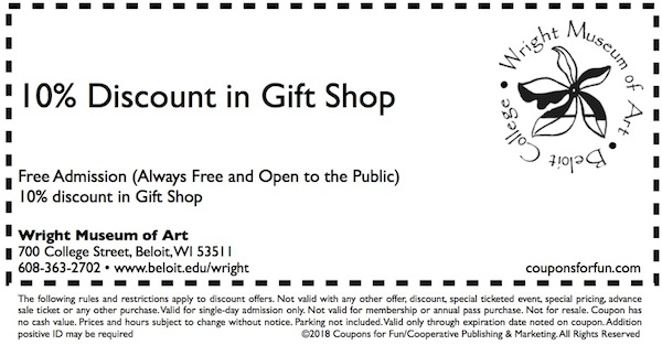 Savings coupon for the Wright Museum of Art in Beloit, Wisconsin