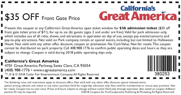 Savings coupon for California's Great America in Santa Clara, California.