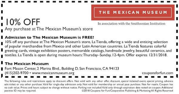 Savings coupon for The Mexican Museum in San Francisco, California