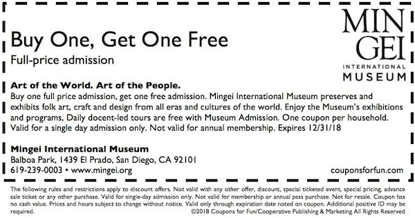 Savings coupon for the Mingei Museum in San Diego, California