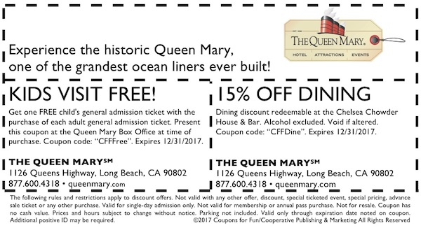 Get savings coupon for the Queen Mary in Long Beach, California