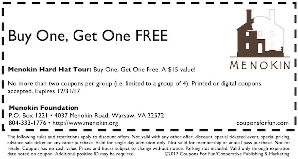 Savings coupon for the Menokin Foundation tour in Warsaw, Virginia