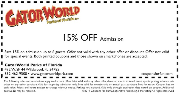 Savings coupon for GatorWorld Parks of Florida in Wildwood, Florida