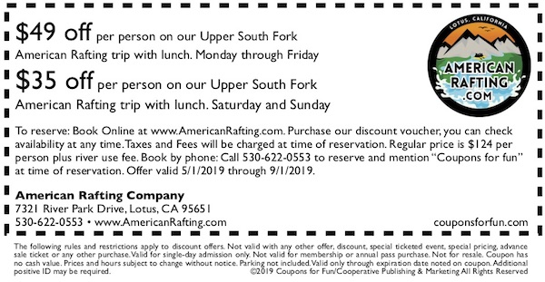 Savings coupon for American Rafting Company in Lotus, California