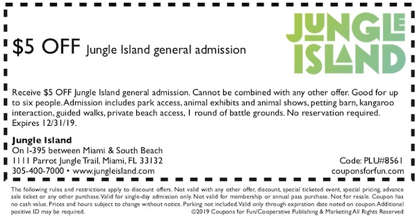 Savings coupon for Jungle Island in Miami, Florida