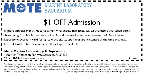 Savings coupon for Mote Aquarium in Sarasota, Florida