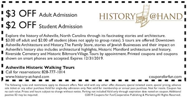 Savings coupon for Asheville Historic Tours in Asheville, North Carolina