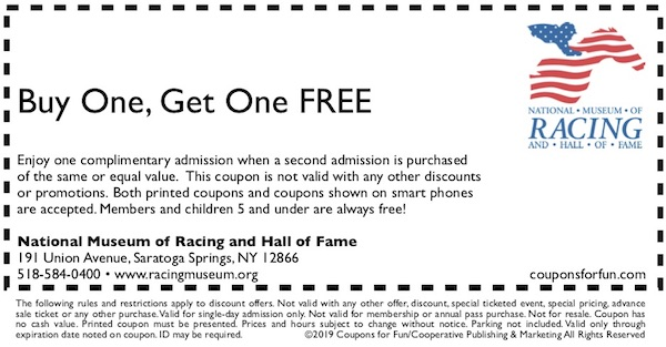 Savings coupon for the National Museum of Racing in Sarasota, NY