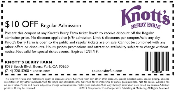 Savings coupon for Knott's Berry Farm in Buena Park, California
