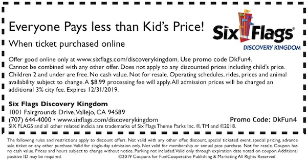 image regarding Six Flags Printable Coupons titled 6 Flags Discovery Kingdom within just Vallejo, California - get hold of