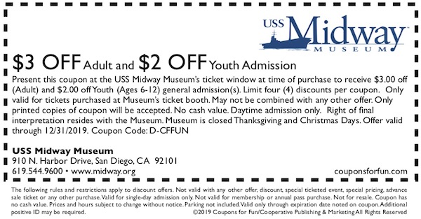 Savings coupon for the USS Midway Museum in San Diego, California