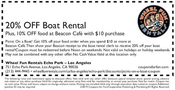 Savings coupon for Wheel Fun Rentals in Echo Park in Los Angeles, CA