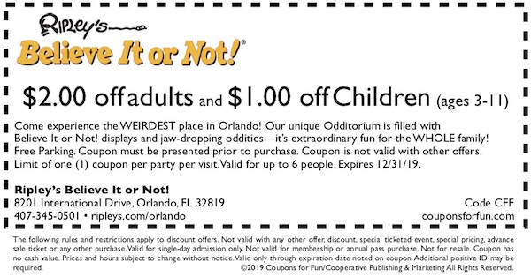 Savings coupon for Ripley's Believe It or Not! in Orlando, Florida