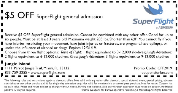 Savings coupon for SuperFlight in Miami, Florida