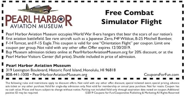 Pearl Harbor Aviation Museum at Pearl Harbor in Hawaii, savings coupon