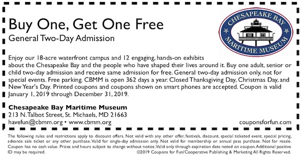 Savings coupon for Chesapeake Bay Maritime Museum in St. Michaels, Maryland