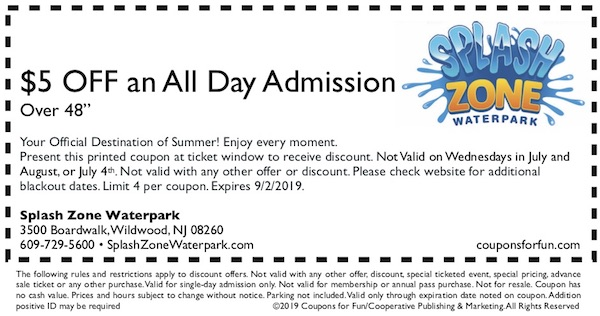 Savings coupon for Splash Zone Waterpark in Wildwood, New Jersey