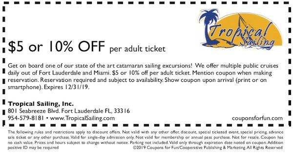 Savings coupon for Tropical Sailing in Fort Lauderdale, Florida