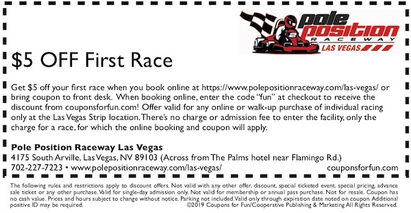 Savings coupon for Pole Position Raceway in Las Vegas, Nevada - go-kart racing