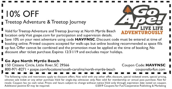 Savings coupon for Go Ape North Myrtle Beach in Little River, South Carolina