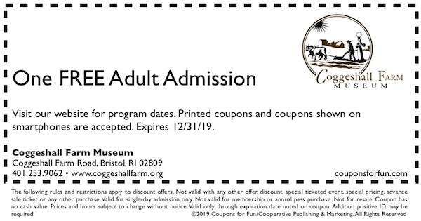 Savings coupon for Coggeshall Farm Museum in Bristol, Rhode Island
