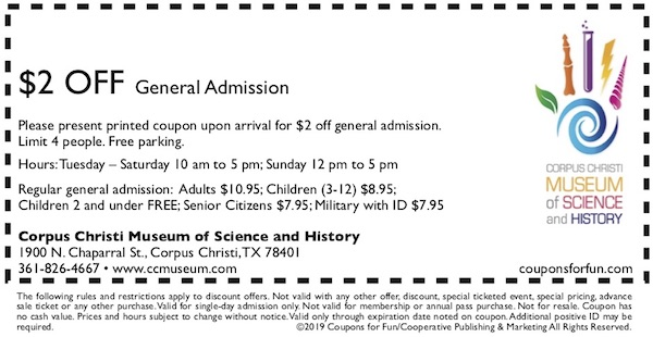 Savings coupon for Corpus Christi Museum of Science and History - Texas - children's museums, family travel, cultural