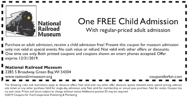 Savings coupon for the National Railroad Museum in Green Bay, Wisconsin - train ride, trains, family fun