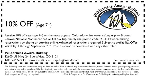 Savings coupon for Wilderness Aware Rafting