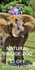 Savings coupon for Natural Bridge Zoo in Virginia