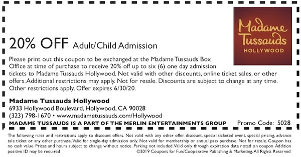 Savings coupon for Madame Tussauds Hollywood, California