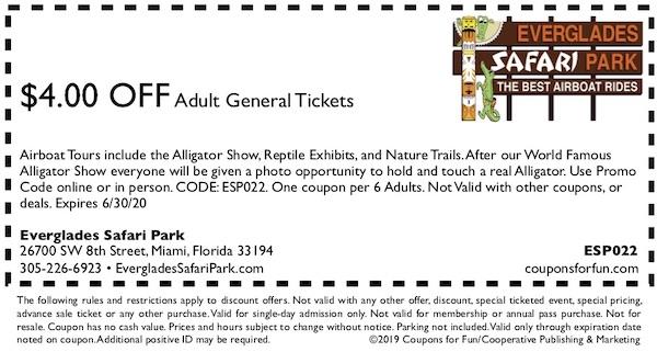 everglades safari park coupons