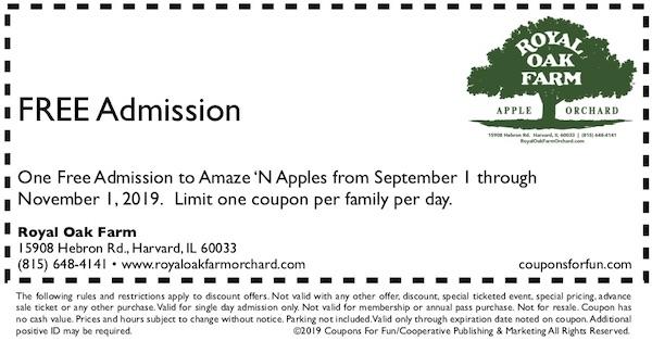 Savings coupon for Royal Oak Farm in Harvard, Illinois