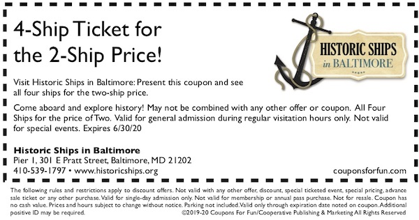 Savings coupon for Historic Ships of Baltimore in Baltimore, Maryland