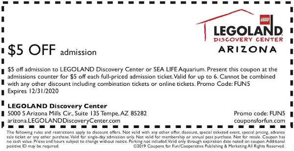 Savings coupon for LEGOLAND Discovery Center, Tempe, Arizona