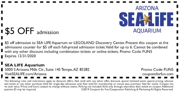 Savings coupon for SEA LIFE Aquarium in Tempe, AZ