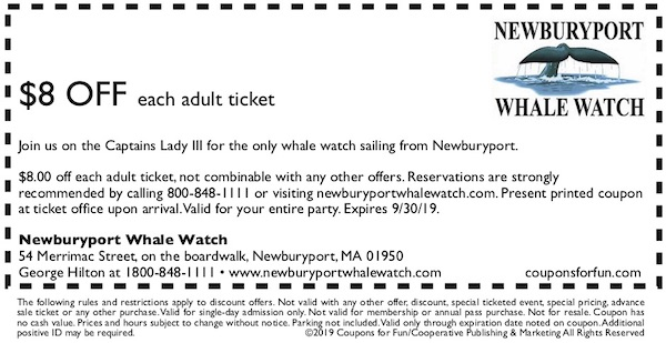 Savings coupon for Newburyport in Newburyport, Massachusetts