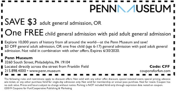 Savings coupon for the Penn Museum in Philadelphia, Pennsylvania