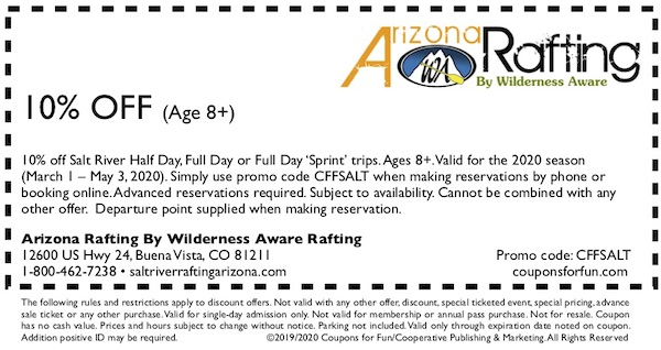 Savings coupon for Arizona Rafting by Wilderness Aware