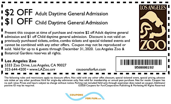 Savings coupon for the Los Angeles Zoo in Los Angeles, California