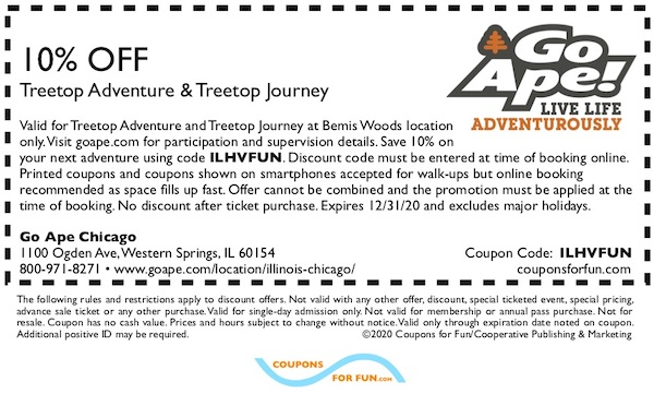Savings coupon for Go Ape Bemis Woods in Western Springs, Illinois