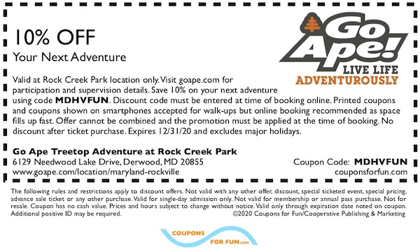 MD Go Ape Treetop Adventure in Maryland coupon