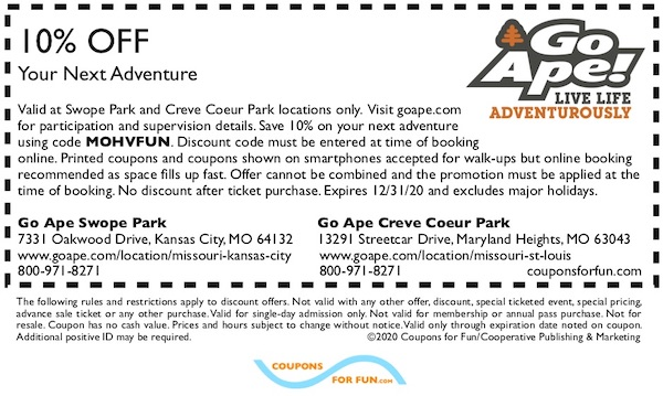 Savings coupon for Go Ape Swope Park in Kansas City and Go Ape Creve Coeur in St. Louis, Missouri
