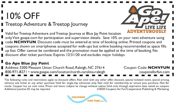 Savings coupon for Go Ape Blue Jay Point in Raleigh, North Carolina