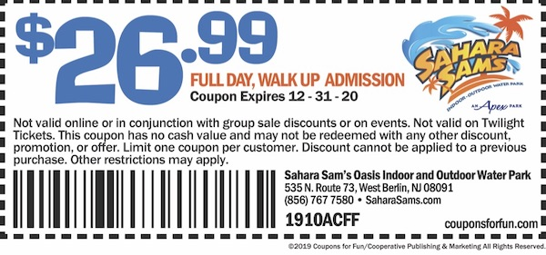 Savings coupon for Sahara Sam's Oasis in West Berlin, New Jersey