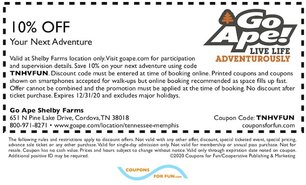 Savings coupon for Go Ape Shelby Farms in Memphis, Tennessee