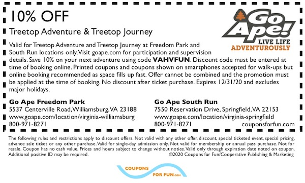 VA Go Ape VA Freedom Park & Go Ape South Run coupon 2019